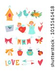 bright vector kit with... | Shutterstock .eps vector #1015161418