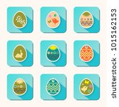 easter eggs icons  with a... | Shutterstock .eps vector #1015162153