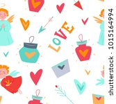 a funny seamless pattern with... | Shutterstock .eps vector #1015164994