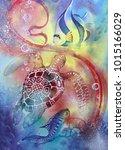 underwater world.  seahorse.... | Shutterstock . vector #1015166029