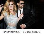 sexy elegant couple. beautiful... | Shutterstock . vector #1015168078