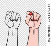 raised women s fist isolated  ... | Shutterstock .eps vector #1015171159