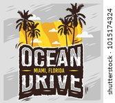 ocean drive miami beach florida ... | Shutterstock .eps vector #1015174324