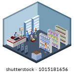 isometric 3d illustration... | Shutterstock . vector #1015181656