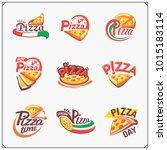 set of pizza labels  badges ... | Shutterstock .eps vector #1015183114