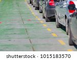cars waiting in line on deck of ...   Shutterstock . vector #1015183570