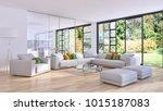 modern bright interiors 3d... | Shutterstock . vector #1015187083