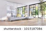 modern bright interiors 3d... | Shutterstock . vector #1015187086