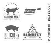 vector set of butchery labels ... | Shutterstock .eps vector #1015187734