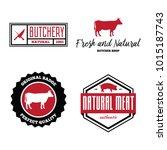 vector set of butchery labels ... | Shutterstock .eps vector #1015187743