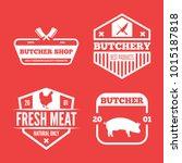 vector set of butchery labels ... | Shutterstock .eps vector #1015187818