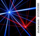 blue and red laser beam light... | Shutterstock . vector #1015202080