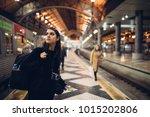 female traveler searching for... | Shutterstock . vector #1015202806