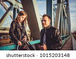 father and daughter wearing... | Shutterstock . vector #1015203148