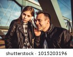 father and daughter wearing... | Shutterstock . vector #1015203196
