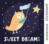 sweet dreams card with a cute...   Shutterstock .eps vector #1015203649