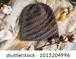 knitted caps in the interior... | Shutterstock . vector #1015204996