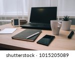 workstation with laptop... | Shutterstock . vector #1015205089