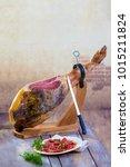 jamon serrano. traditional... | Shutterstock . vector #1015211824