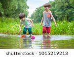 two little sibling brothers... | Shutterstock . vector #1015219213
