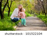 young mother and daughter on... | Shutterstock . vector #101522104