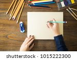 point of view of female artist... | Shutterstock . vector #1015222300