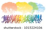 running people. crowd of young... | Shutterstock . vector #1015224106