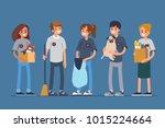 group volunteers standing... | Shutterstock .eps vector #1015224664