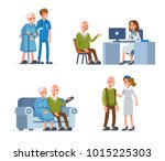 elderly people leisure in... | Shutterstock .eps vector #1015225303