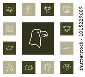 set of 13 animal icons line... | Shutterstock . vector #1015229689