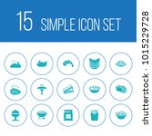 set of 15 food icons set.... | Shutterstock . vector #1015229728
