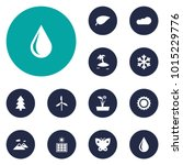 set of 12 nature icons set.... | Shutterstock .eps vector #1015229776