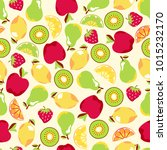 bright fruit seamless pattern ... | Shutterstock .eps vector #1015232170