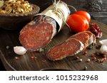 croatian spicy sausage on... | Shutterstock . vector #1015232968