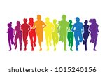 running people. colorful crowd...   Shutterstock . vector #1015240156