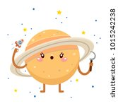 cartoon saturn with sickle ... | Shutterstock .eps vector #1015242238