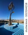 Small photo of Rio de Janeiro, Brazil, February 01, 2018: Anthony Howe artwork, Olympic cauldron of Rio 2016 Olympics suffers from the abandonment of the City Hall. The place was one of main sights of Downtown Rio.
