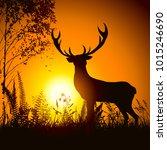 elegant deer in the nature at...   Shutterstock .eps vector #1015246690
