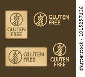 vector gold gluten free logo... | Shutterstock .eps vector #1015257136