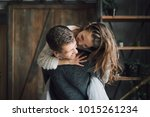 young girl having a ride on her ...   Shutterstock . vector #1015261234