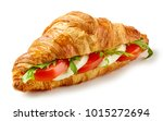 croissant sandwich with... | Shutterstock . vector #1015272694