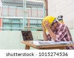 serious hardworking unhappy man ... | Shutterstock . vector #1015274536