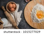 top view eggs  dough  flour and ... | Shutterstock . vector #1015277029