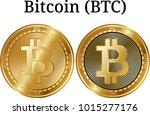 set of physical golden coin... | Shutterstock .eps vector #1015277176