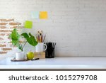 workspace mockup and office... | Shutterstock . vector #1015279708