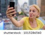 portrait of beautiful senior... | Shutterstock . vector #1015286560