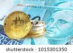bitcoin coins on brazilian real ... | Shutterstock . vector #1015301350