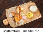 grilled salmon fillet steak... | Shutterstock . vector #1015303714