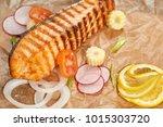 grilled salmon fillet steak... | Shutterstock . vector #1015303720