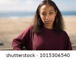 young black woman face portrait ... | Shutterstock . vector #1015306540
